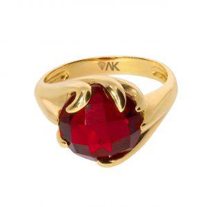 Kırmızı Topaz Doğal Taşlı Altın Yüzük 14 Ayar