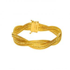 Top Altınlı 22 Ayar Çapraz Örgü Zincir Altın Bileklik