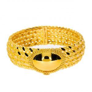 5 Siralı Burma Desenli Altın Kelepçe Bilezik 14 Ayar