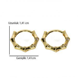 1,41cm Taşlı Altın Halka Küpe 14 Ayar